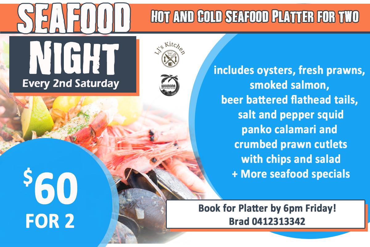 SEAFOOD NIGHT – SATURDAY 10/4!!